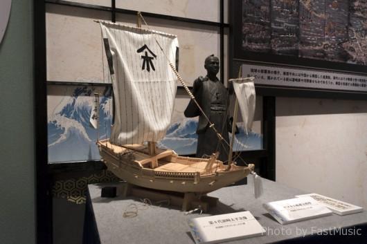 浜崎太平次像と密貿易船