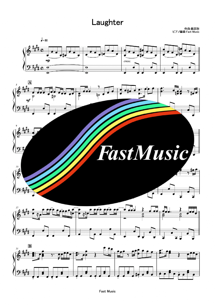 Official髭男dism「Laughter」ピアノソロ楽譜 & 参考音源 -映画『コンフィデンスマンJP プリンセス編』主題歌【FastMusic】