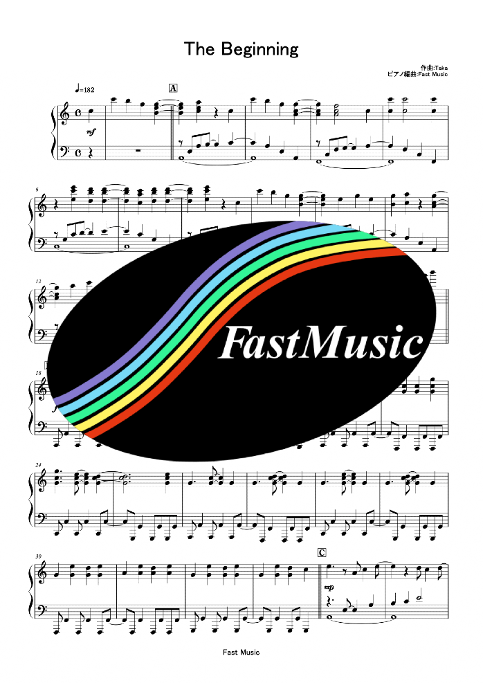 ONE OK ROCK「The Beginning」ピアノソロ楽譜 & 参考音源 -映画『るろうに剣心』主題歌【FastMusic】